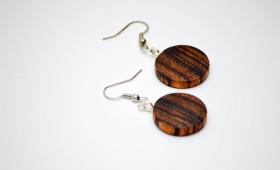 Ohrringe aus Zebrano Holz